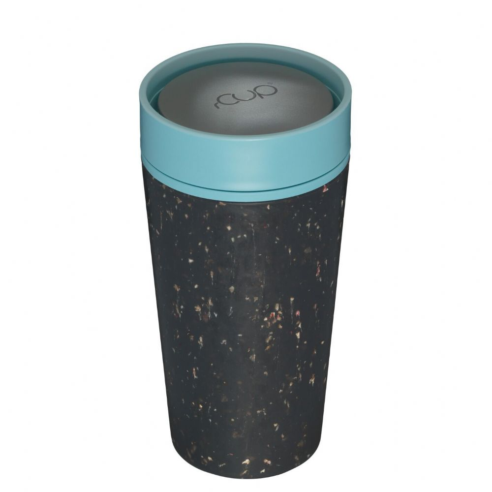 rCup - Black & Teal recycled reusable cup 12oz